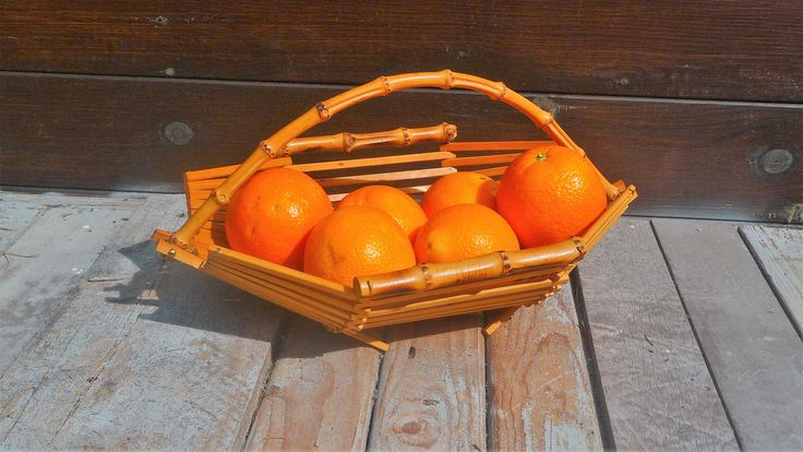 Vintage Wooden Bamboo Basket, Table Centerpiece Fruit Bowl With Handle, Farmhouse Style Decor by Grandchildattic on Etsy