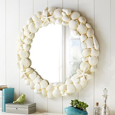 Shell Mirror #potterybarnteen. Cute idea to diy with the shells we collected on our trip!