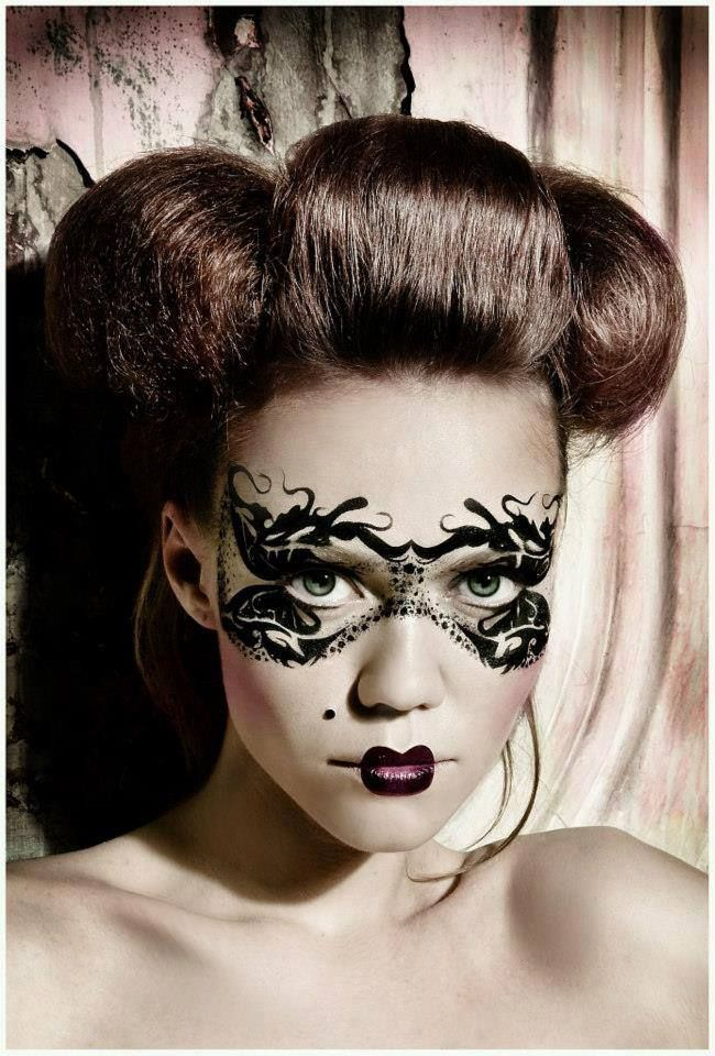 art fantasy makeup idea use as a unique take on the cat mask for fierce feline cat costumes - Best Halloween Makeup To Use