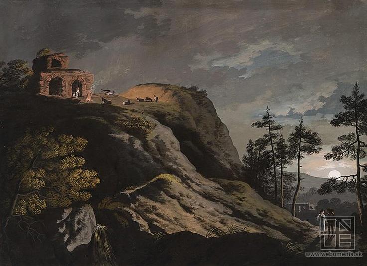 Ján Jakub Müller: Romantic landscape with ruins and sheperds in the moonlight / Romantická krajina s ruinami a pastiermi pri mesačnom svite (1801 - 1825)