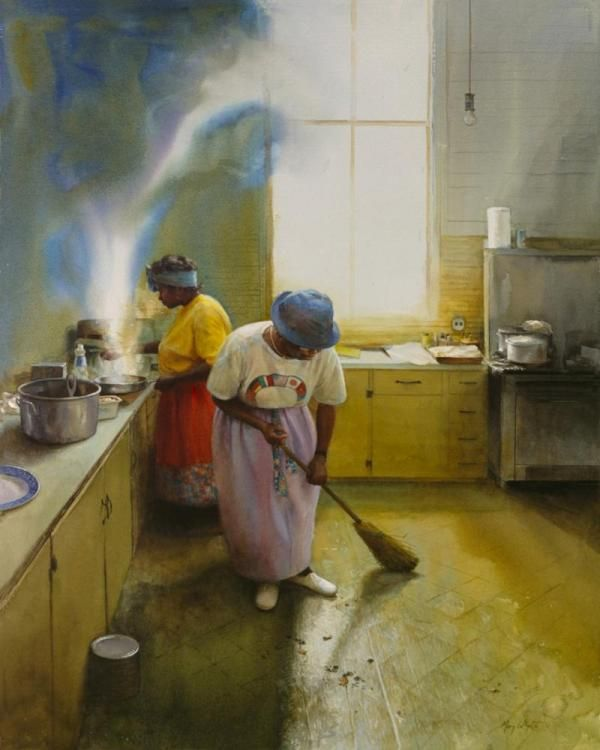 Wednesday Chores, watercolor by Mary Whyte   Charleston, SC