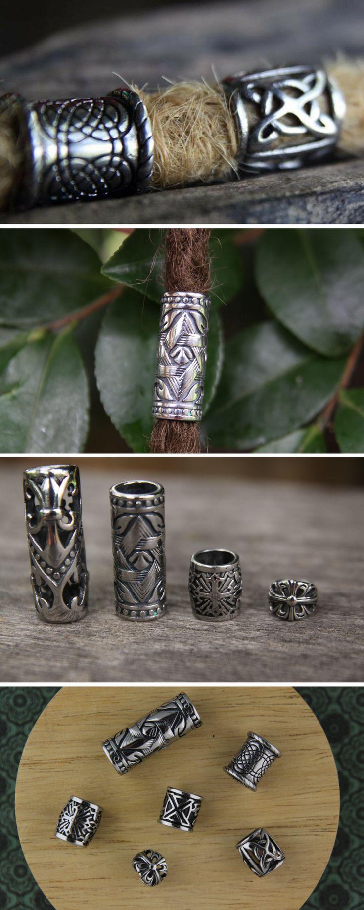 Stainless Steel Dreadlock Beads that don't tarnish or fade. Quality Dreadlock Beads. Dread beads for men. Viking Hair Beads. Beard Beads. Mountain Dreads. #dreadbeads #dreadbeadsformen #vikingbeads #beardbeads