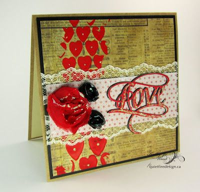 Vintage Love Valentine's Day card using Suzanne Cannon designed love die for Elizabeth Craft Designs, Tim Holtz Heart Stencil and papers, Ranger Ink Stickles.