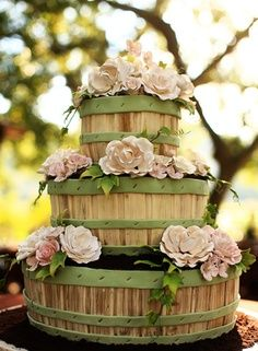 Fruit basket cake with pale pink flowers
