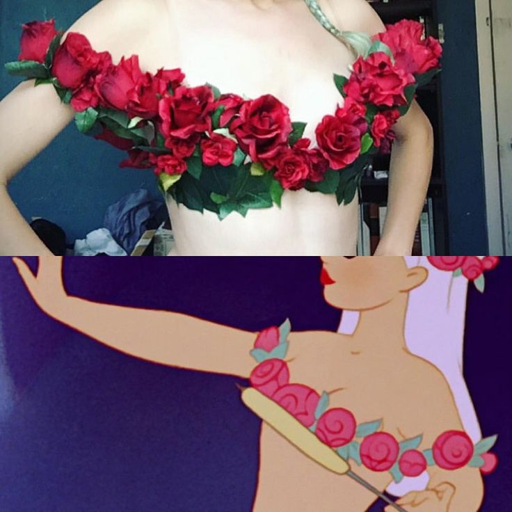 """""""My rose garland for my centaurette cosplay from Disney's Fantasia! I not interested in flashing underboob for this cosplay, so I interpreted this garment as a full bra with clear straps for support."""""""