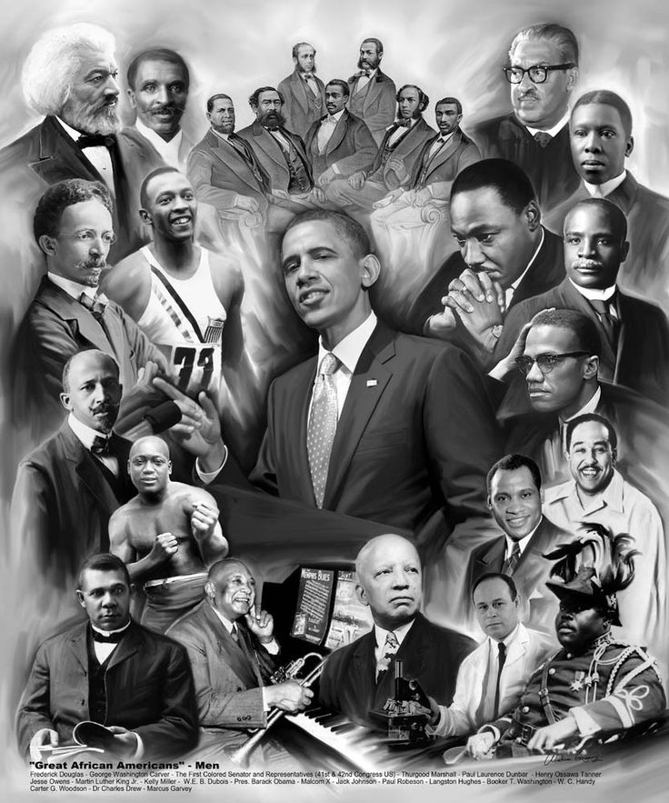 Great African American Men by Wishum Gregory | The Black Art Depot  A popular historic art print featuring a montage that serves a tribute to the legendary leadership of African American men. Included in this poster are images of the following individuals: Frederick Douglass, George Washington Carver, The First Colored Senators and Representatives, Thurgood Marshall, Paul Laurence Dunbar, Henry Ossawa Turner, Jesse Owens, Martin Luther King, Jr., Kelly Miller, W.E.B. DuBois, President Barack…
