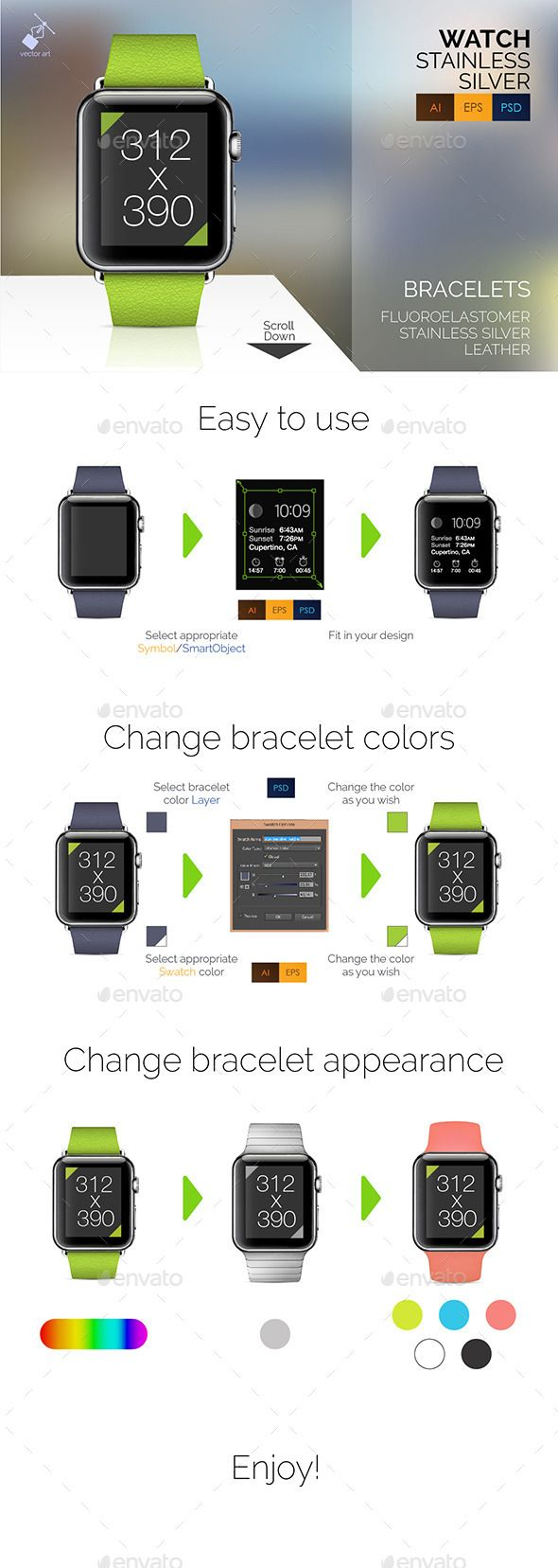 Smart Watch Stainless Vector Mockup Set #watchmockup #smartwatchmockup Download: http://graphicriver.net/item/smart-watch-stainless-vector-mockup-set/10556811?ref=ksioks