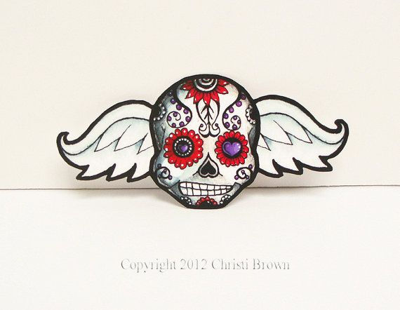 Sugar skull sticker car window large waterproof vinyl day of the dead angel wings