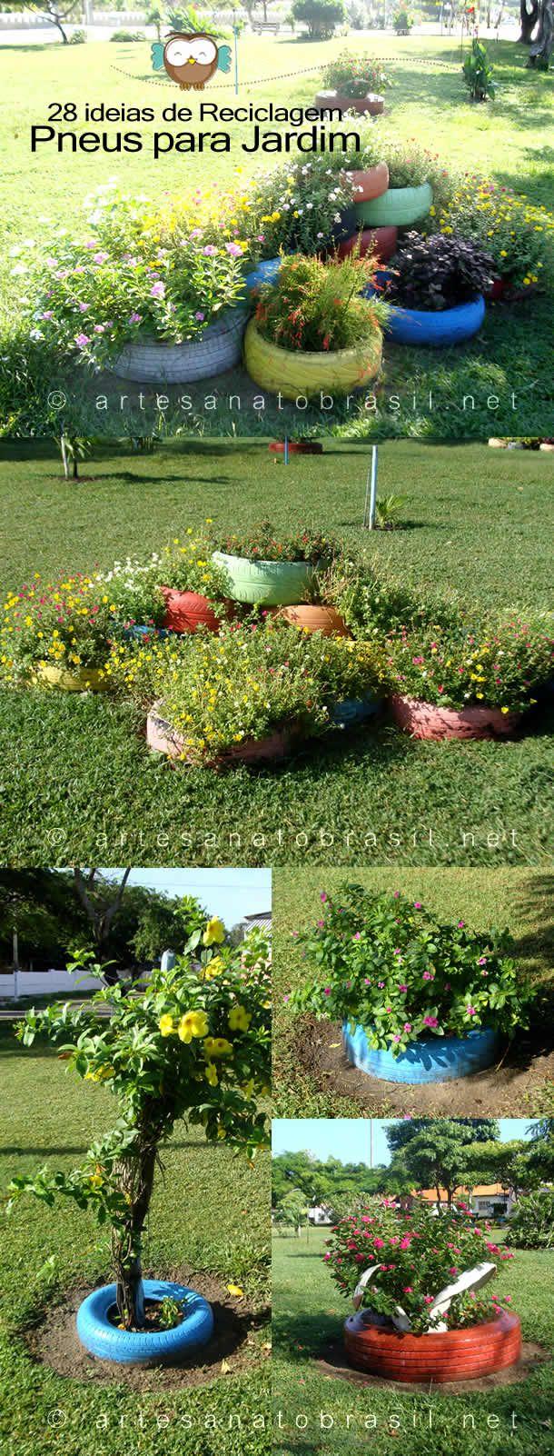 25 melhores ideias sobre jardim de pneus no pinterest for Adornos jardin reciclados