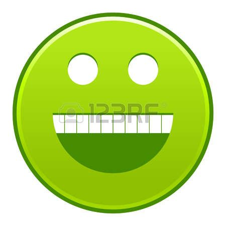 Green smiling face cheerful smiley happy emoticon. Quick and easy recolorable shape isolated from background. Vector illustration a graphic element for web internet design Vector