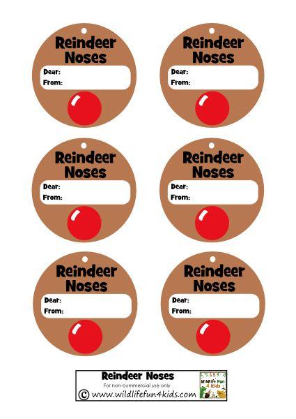 Reindeer Noses Gift Tags: Free Printable | Wildlife Fun 4 Kids