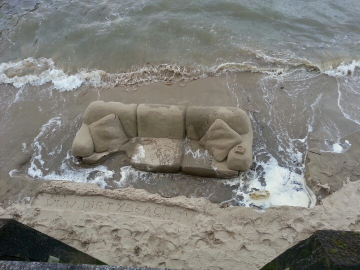 Awesome Sand Sofa In The Thames!