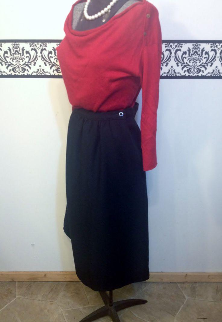 1960's Jet Black Pin Up Skirt by JC Penney, Modern Day 8 (Vintage 12), 50's Vintage Black Hipster Skirt, 1960's Rockabilly Secretary Skirt by RetrosaurusRex on Etsy