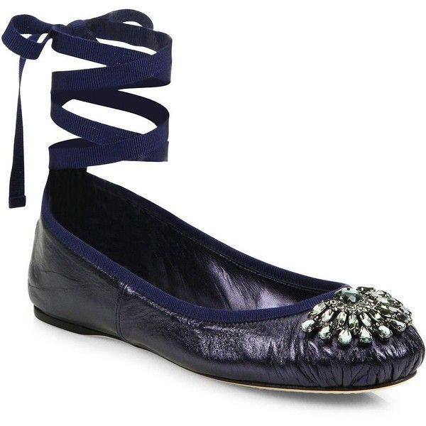 Jimmy Choo Women's Grace Crystal-Embellished Metallic Leather... ($595) ❤ liked on Polyvore featuring shoes, flats, navy, flat shoes, navy blue flats, navy flats, leather flats and navy ballet flats