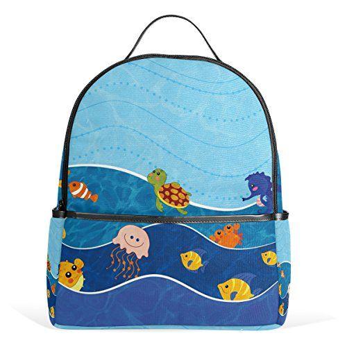 My Daily Sea Tiere Casual Backpack Cartoon Rucksack für Schule Reise Outdoor Daypack mit Doppelreißverschluss #Daily #Tiere #Casual #Backpack #Cartoon #Rucksack #für #Schule #Reise #Outdoor #Daypack #Doppelreißverschluss