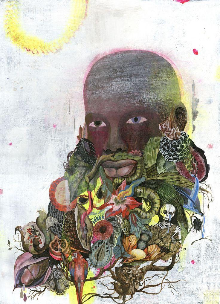 De Berlijnse kunstenaar Olaf Hajek brengt op zijn schilderijen kapsels en baarden tot leven. De haren zijn vervangen door flora en fauna.