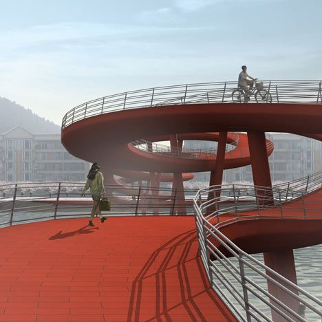 Nanhe River Landscape Pedestrian Bridge - to be built in Xinjin, Sichuan, China;  designed by WXY Architecture