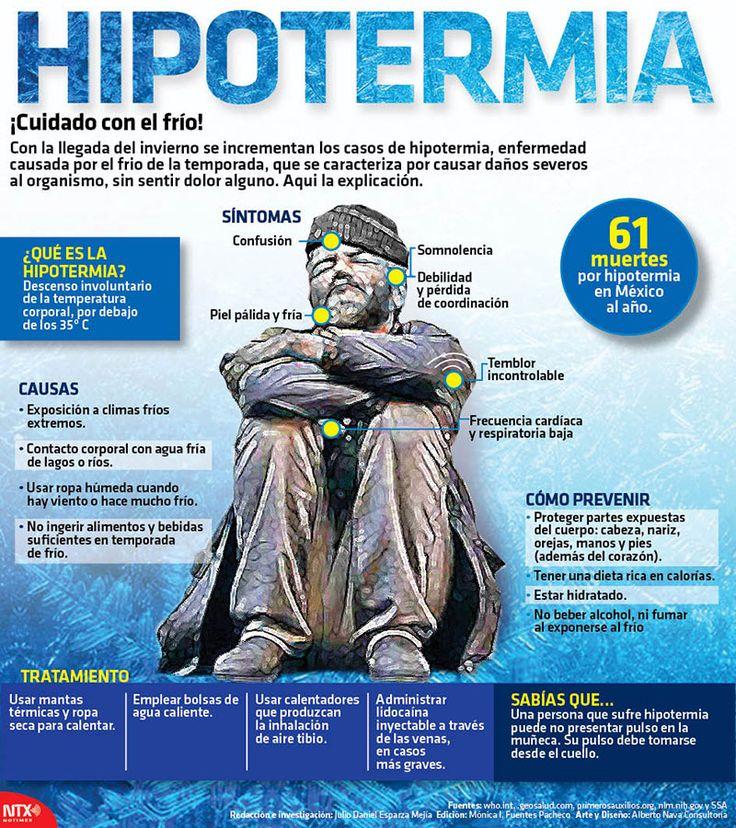 Con la llegada del frío se incrementan los casos de Hipotermia, enfermedad causada por las bajas temperaturas de la temporada. Conoce las causas y cómo prevenirla. #Infographic.