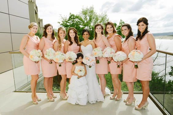 Peach bridesmaid dresses with nude peep toe heels | Bridesmaids