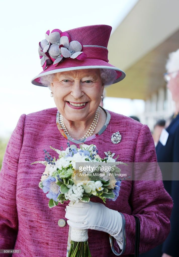 Queen Elizabeth II during a visit to The Kelpies sculpture near Falkirk to unveil a plaque to name the Queen Elizabeth II Canal that runs through the Helix development. (Photo by Andrew Milligan/PA Images via Getty Images)