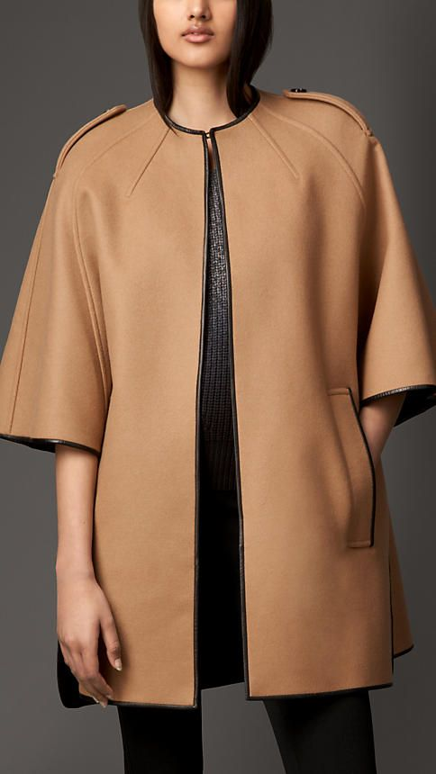 Burberry London Wool Blend Leather Trim Cape