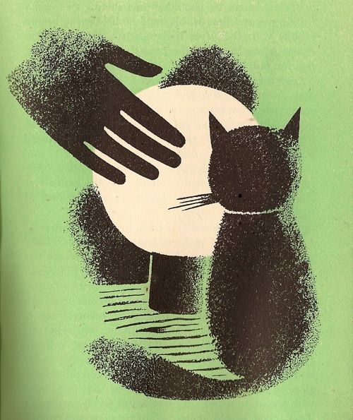 black cat by tom eckersley from 'cat o'nine lives', 1946