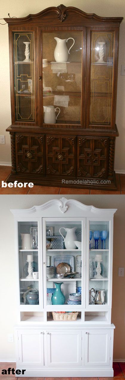 old hutch remodeled into a beautiful white hutch notice the very subtle aqua interior