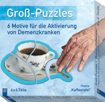 """Groß-Puzzles: 6 Motive für die Aktivierung von Demenzkranken: Thema """"Kaffeetafel"""" ++ Groß-Puzzles für die #Aktivierung von Demenzkranken ++ Ideal für die Kurzaktivierung in der Demenzbetreuung + Große, griffige #Puzzle-Teile aus robustem Karton + Mit #Bildvorlagen im Legerahmen zum einfachen Nachlegen + Alltagsmotive, die jeder wiedererkennt + Zum Erhalt der visuellen, motorischen und kognitiven Fähigkeiten + Auch für den Einsatz zu Hause geeignet #Demenz #Betreuung"""
