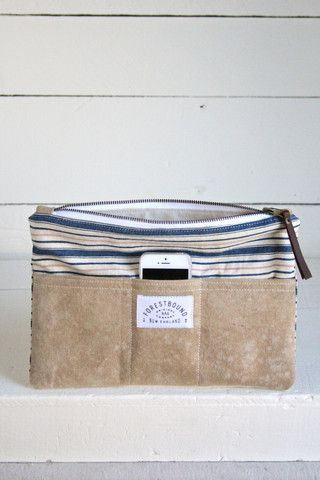 1940's era Ticking Fabric Pocket Utility Pouch - FORESTBOUND