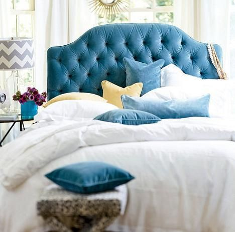 Blue Tufted Headboard Interior Designer Mad Men Ballard Design