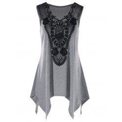Wholesale Plus Size V Neck Lace Trim Tank Top - Heather Gray 2xl Lace Summer
