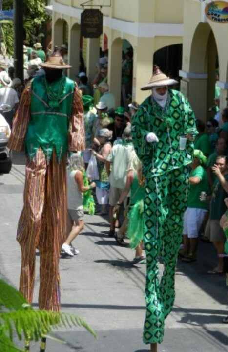 Mocko Jumbies in St Croix, USVI on St. Patrick's Day
