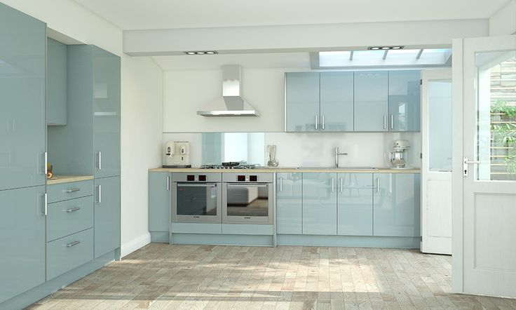 Wren kitchens Pacrylic Blue Quartz Gloss Kitchen image 1