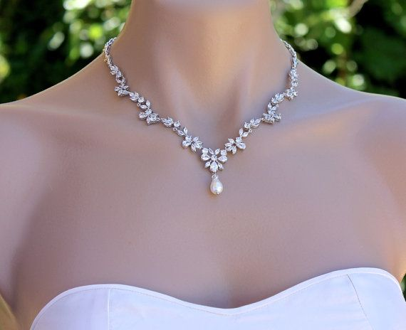 Marquise Crystal Bridal Necklace Pearl Drop Crystal Necklace