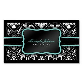 business card teal black white
