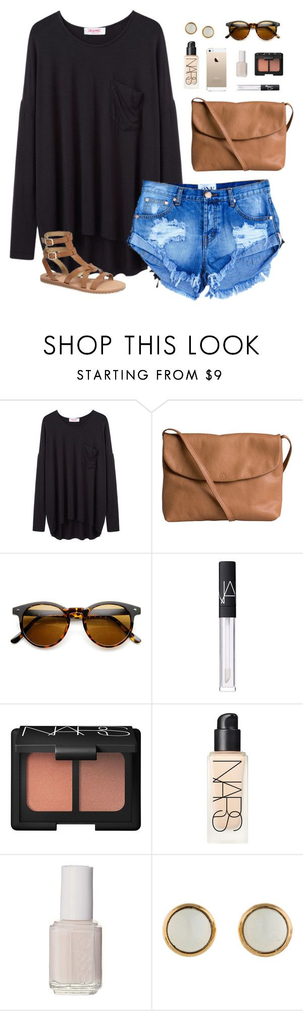"""""""fall mood summer weather"""" by classically-preppy ❤ liked on Polyvore featuring Organic by John Patrick, Pieces, NARS Cosmetics, Essie, Hermès and Sam Edelman"""