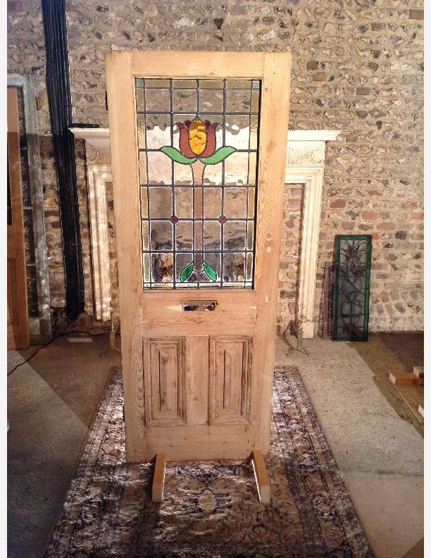 685 - Half glazed cottage victorian door with leaded glass