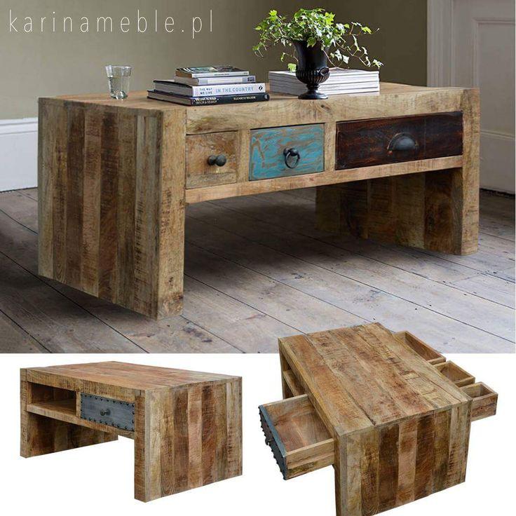 """W nowościach w karinameble.pl znajdziecie loftowy stolik """"Lost in time"""" z szufladkami w rozmiarze 60x90. Stolik jest zrobione z litego drewna mango i fronty są zrobione z drewna z recyklingu. Polecamy do meble loftowe, meble industrialne i meble orientalne. Zapraszamy 🙂"""