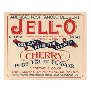 "Jell-O  ""It's no wonder that cough syrup and Jell-O share similar flavorings. In 1895, a cough syrup maker by the name of Pearl B. Wait adapted Peter Cooper's 1845 patent for gelatin dessert. But we all know, behind every successful man there is a woman. It was Wait's wife, May, who coined the name Jell-O."""