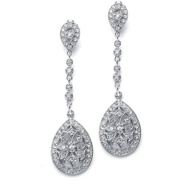 Wedding Bridal Clear White Faux Marcasite Dangle Post Earrings   Us... (5340 RSD) ❤ liked on Polyvore featuring jewelry, earrings, accessories, brincos, joias, long post earrings, long bridal earrings, post back earrings, white earrings and marcasite jewelry