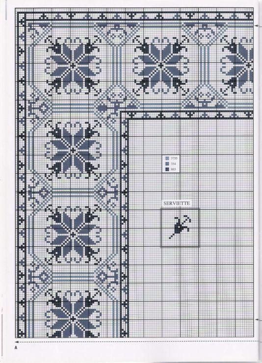 σχέδια για κεντητά τραπεζομάντηλα ή σεμέν / patterns to stitch tablecloths or runners     πηγή / source                      πηγή / sou...