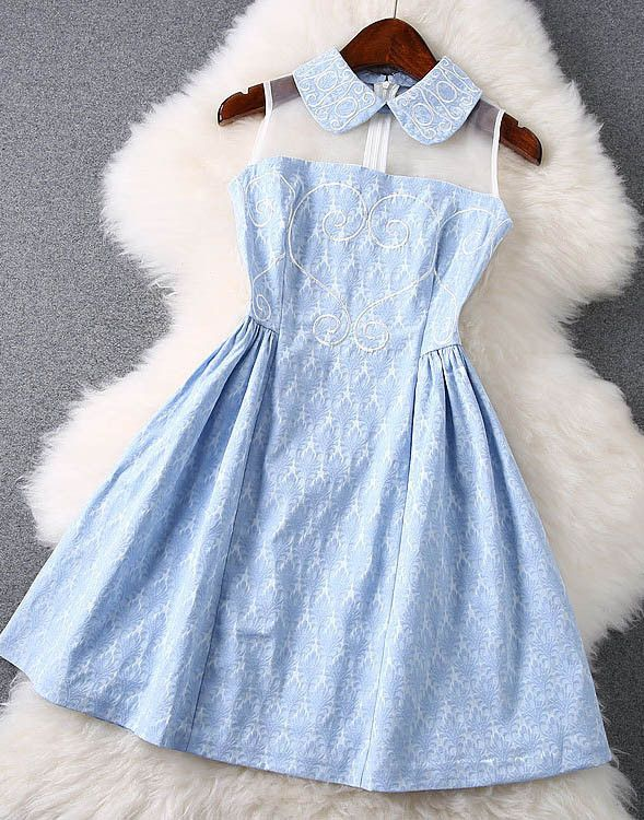 Embroidered Lace Dress with in Light Blue