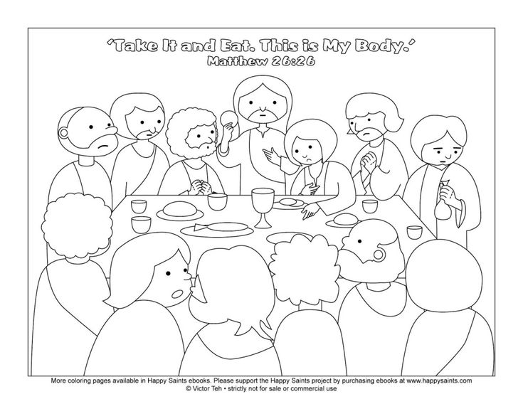 Jesus Christ Coloring Printable Page For The Last Supper