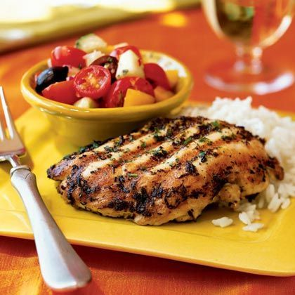 Lemon and Oregano-Rubbed Chicken Paillards Add flavor to chicken with a low-sodium, low-fat mixture of lemon rind, oregano, black pepper, and garlic. Serve with fresh garden veggies and steamed rice for a heart-healthy meal. To increase the fiber, use brown rice.