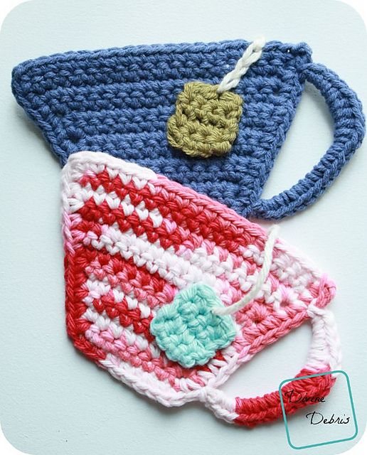 [Free Pattern] Adorable Tea Cup Coasters Your Drinks Will Love To Rest On - Knit And Crochet Daily