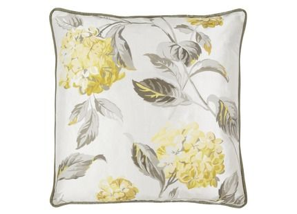 Hydrangea Print Cushion Featuring our pretty hydrangea print in soft camomile and greys, this luxurious silk cushion will add easy elegance to home decor. 100% silk. Feather Pad Included.