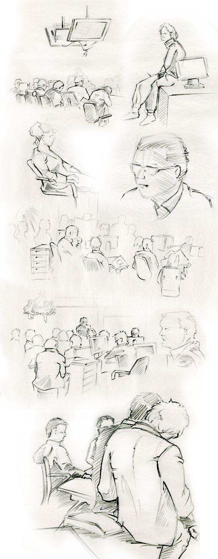 Some character sketches done in 2003 at BILD Newspaper newsroom. ::::::::::::::: 2003 zog die Bildredaktion in das 11. Stockwerk der Kaffermacherreihe. In der täglich stattfindenden Redaktions-Konferenz entstanden fast täglich Bleistift-Skizzen von teils auf umgedrehten Mülleimern sitzenden Redakteuren. So auch 2003.