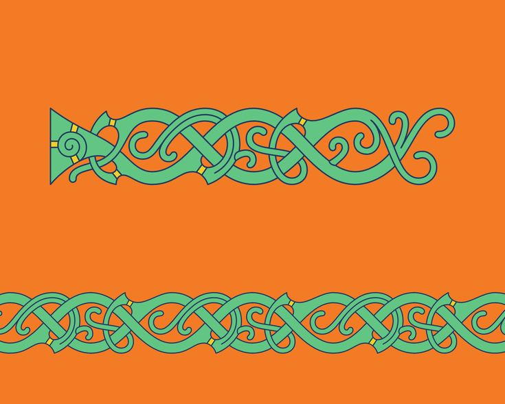 Vegetal Vine (B) in Mammen Style – Mammen style chain pattern of vegetal vines inspired by the openwork wood carvings found in the North Mound of the monument site in Jelling, Denmark.