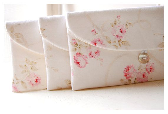 Shabby Chic clutch Set of 3 Bridesmaid Gift Set by hoganfe on Etsy