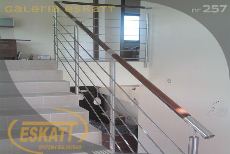 Stainless steel balustrade, stainless steel horizontal filling and wooden handrail. #balustrade #eskatt #construction #stairs